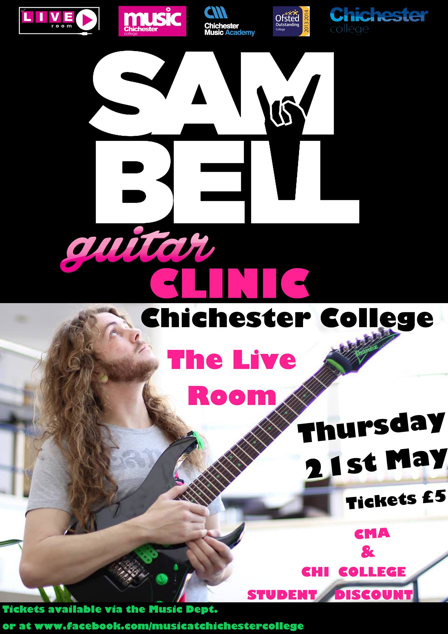 Guitar Clinic at The Live Lounge, Chichester Collage. I will be playing various compositions on my 6, 7 and 8 string guitars whilst talking about technique, approach to songwriting, and much more. I Tickets available through Music Department or through: www.facebook.com/musicatchichestercollege